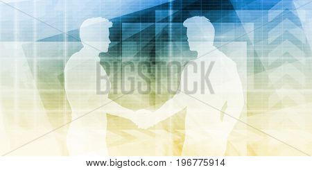 Business Handshake Between Two Companies or Parties 3D Illustration Render