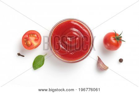 tomato sauce in bowl isolated on white background