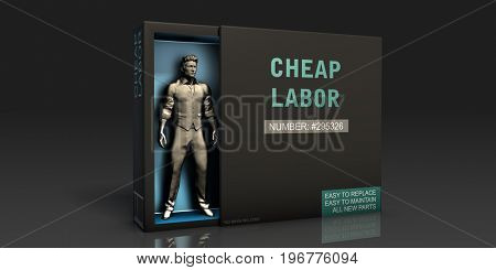 Cheap Labor Employment Problem and Workplace Issues 3D Illustration Render