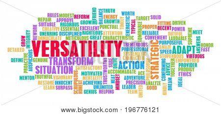 Versatility Word Cloud Concept on White