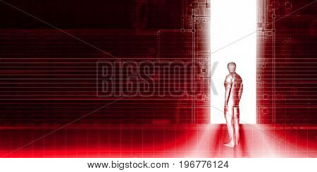 Stepping into the Future as a Business Technology Concept 3D Illustration Render