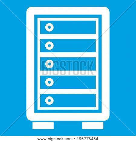 Security safe icon white isolated on blue background vector illustration