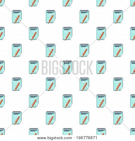 Red pencil and notepad pattern seamless repeat in cartoon style vector illustration