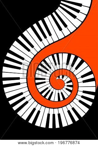 Piano keys in vector spirally twisted on a orange background