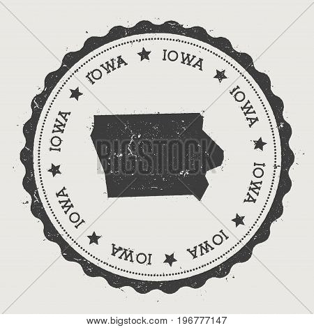 Iowa Vector Sticker. Hipster Round Rubber Stamp With Us State Map. Vintage Passport Stamp With Circu