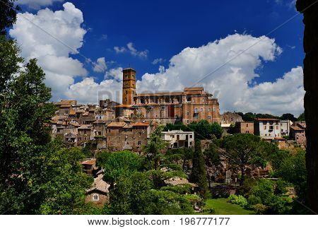 View of the medieval Saint Mary of Assumption Cathedral at the top of the ancient town of Sutri near Rome