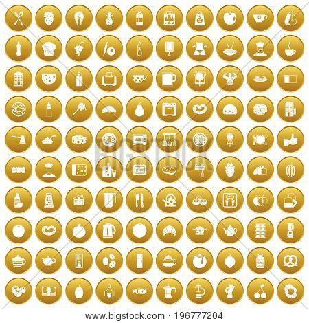 100 breakfast icons set in gold circle isolated on white vector illustration