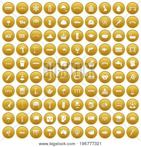 100 bridge icons set in gold circle isolated on white vector illustration