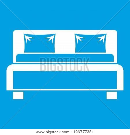 Double bed icon white isolated on blue background vector illustration