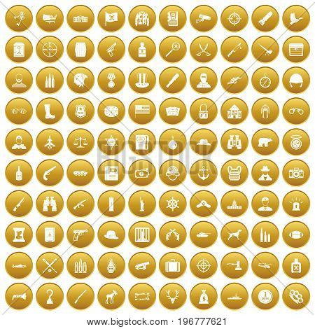 100 bullet icons set in gold circle isolated on white vector illustration
