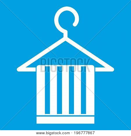 Scarf on a coat hanger icon white isolated on blue background vector illustration