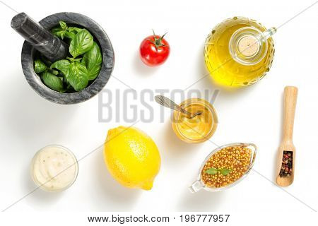 set of dip sauces and spices isolated on white background