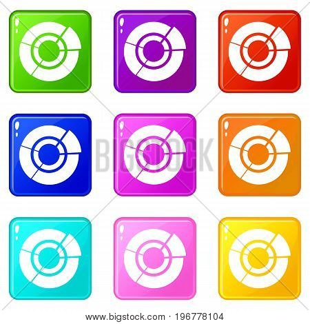 Pie chart for infographic icons of 9 color set isolated vector illustration