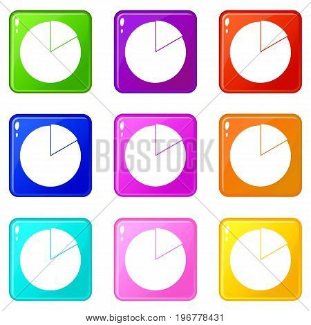 Business pie chart icons of 9 color set isolated vector illustration