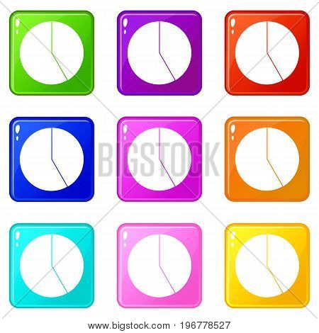 Abstract pie chart for business icons of 9 color set isolated vector illustration