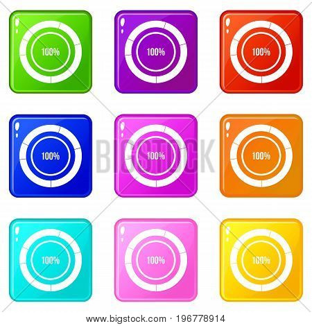 Diagram pie chart icons of 9 color set isolated vector illustration