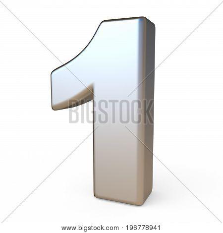 Metal Font Number One 1 3D