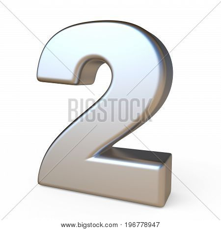 Metal Font Number Two 2 3D