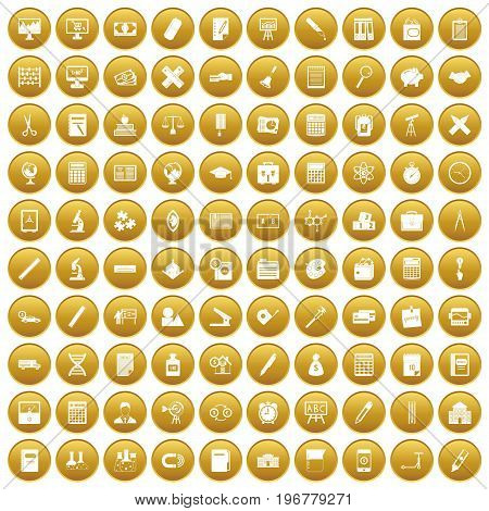 100 calculator icons set in gold circle isolated on white vector illustration