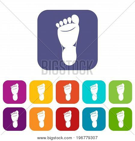 Foot left leg icons set vector illustration in flat style in colors red, blue, green, and other