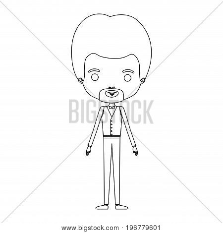 silhouette caricature groom guy in wedding formal suit with van dyke beard vector illustration