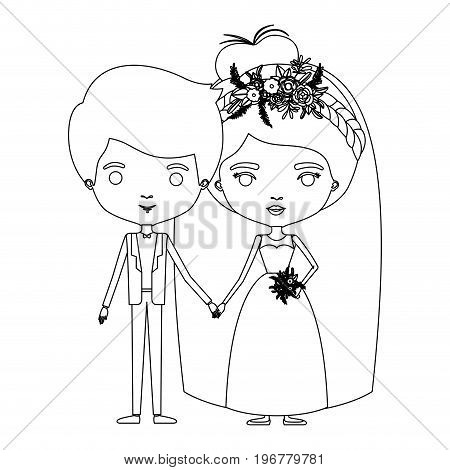 silhouette caricature newly married couple groom with formal wear and bride with collected hairstyle vector illustration