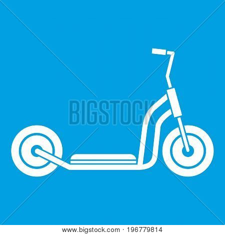 Kick scooter icon white isolated on blue background vector illustration
