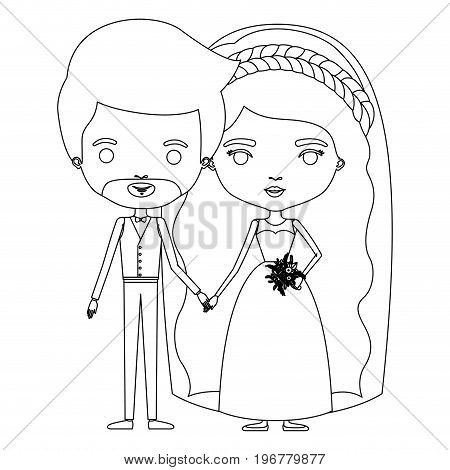 silhouette caricature newly married couple groom with formal wear and bride with wavy long hairstyle vector illustration