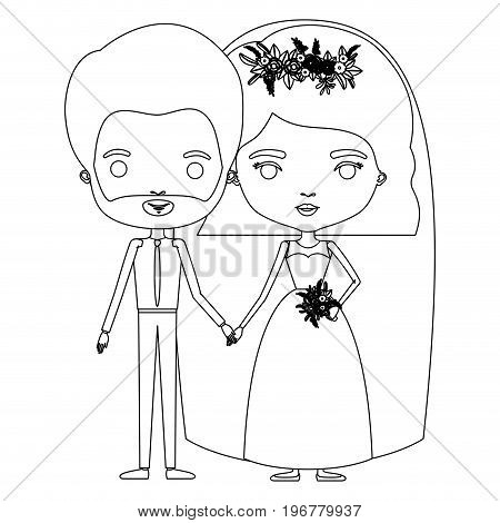 silhouette caricature newly married couple groom with formal wear and bride with wavy short hairstyle vector illustration