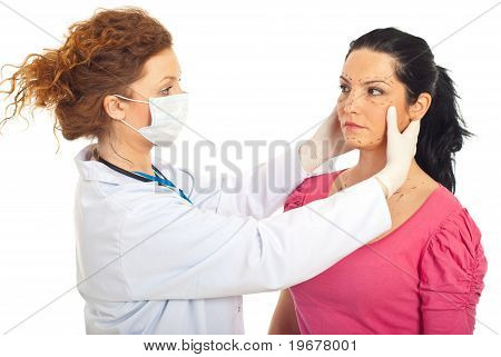 Plastic Doctor Prepare Woman For Surgery