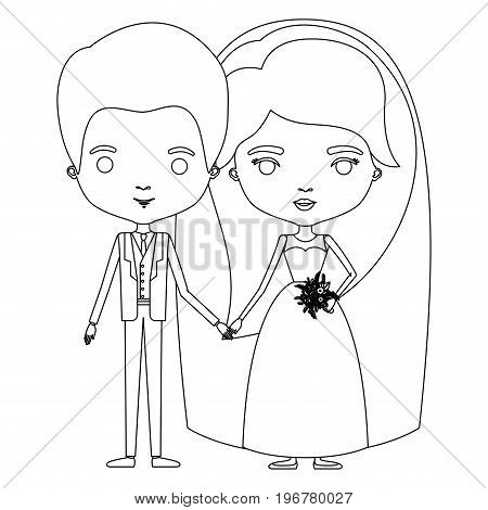 silhouette caricature newly married couple groom with formal wear and bride with long hairstyle vector illustration