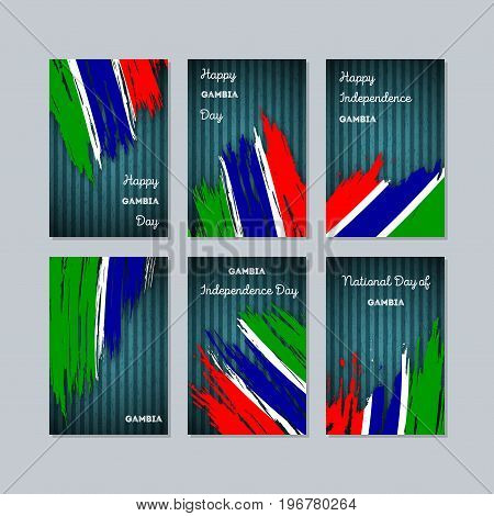 Gambia Patriotic Cards For National Day. Expressive Brush Stroke In National Flag Colors On Dark Str