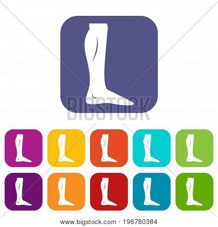 Human leg icons set vector illustration in flat style in colors red, blue, green, and other