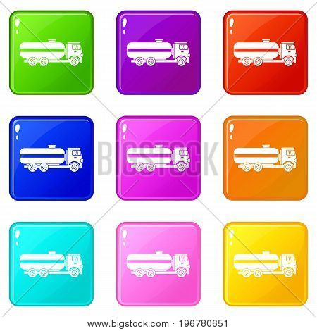 Fuel tanker truck icons of 9 color set isolated vector illustration