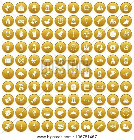 100 child center icons set in gold circle isolated on white vector illustration