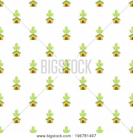 ECO house pattern seamless repeat in cartoon style vector illustration