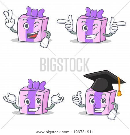 Set of gift character with two finger wink graduation vector illustration