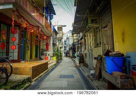 HONG KONG, CHINA - JANUARY 26, 2017: Old fishermen village Tai O with rustic houses on loccated in Hong Kon, China.