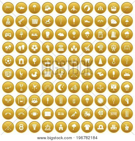100 childrens playground icons set in gold circle isolated on white vector illustration