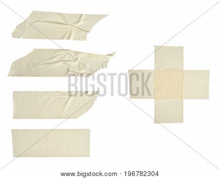 Сollection adhesive tape pieces on white background