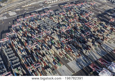 Long Beach, California, USA - July 10, 2017:  Aerial view of cargo container stacks at the Port of Long Beach near Los Angeles, California.