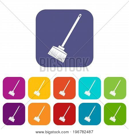 Broom icons set vector illustration in flat style in colors red, blue, green, and other