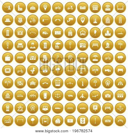 100 city icons set in gold circle isolated on white vector illustration