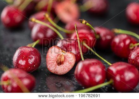 Portion Of Cherries On A Slate Slab