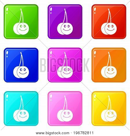 Ripe smiling cherry icons of 9 color set isolated vector illustration