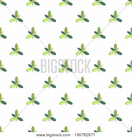 Green leaves pattern seamless repeat in cartoon style vector illustration