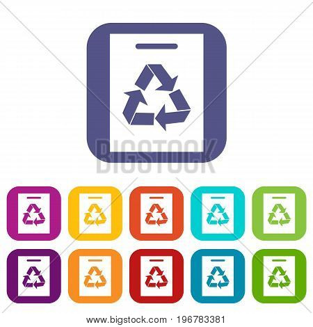 Recycling icons set vector illustration in flat style in colors red, blue, green, and other