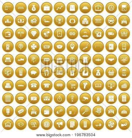 100 coin icons set in gold circle isolated on white vector illustration