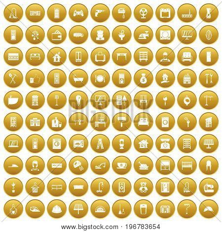 100 comfortable house icons set in gold circle isolated on white vector illustration