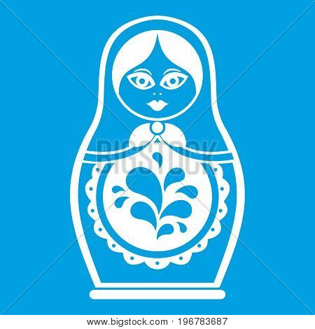 Matryoshka icon white isolated on blue background vector illustration